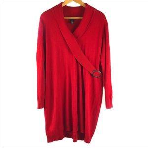 Lane Bryant Red Shawl Collar sweater dress